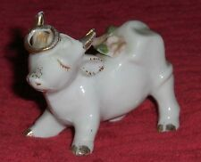 Vtg Pastel Pink Floral Cow Figurine Gold Halo Porcelain Moo Cow Calf Japan