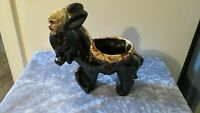 "Vintage 10"" Donkey brown glaze ceramic planter"