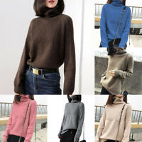 Autumn Women's Turtleneck Knitted Sweater Long Sleeve Pullover Jumper Plus Size