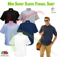 OXFORD SHORT SLEEVE SHIRT Mens Classic Formal Button Down Collar Pocket Work TOP