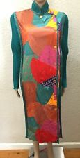 Vintage Jeanne Marc Art Wear Patchwork Accordion Pleated Midi Dress Duster S