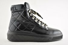 Chanel 18A Black Patent Leather Quilted CC Lace Up High Top Flat Sneaker Boot 41