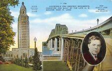 Louisiana State Capitol Baton Rouge Huey P Long Bridge New Orleans Postcard F03