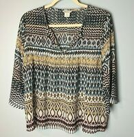 Ariat Women's Top Size Small Beaded V-Neck 3/4 Sleeves Semi-Sheer Brown Blue