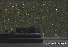 Wandtattoo leuchtende Sterne und Punkte 380 Stück Sternenhimmel floureszierend