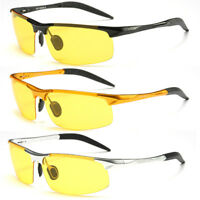 Aluminum Polarized Night Vision Sunglasses Mens Anti-glare Night Driving Goggles