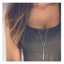 Trendy Simple Silver Gold Plated Long Chain Necklaces lariat Charm Bar Pendants