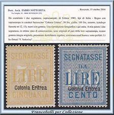 Colonie Italiane 1903 Eritrea Segnatasse n. 12/13 Certificato Nuovi Integri **