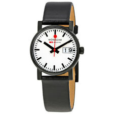 Mondaine Evo White Dial Black Leather Ladies Watch A669.30305.61SBB