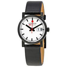 Mondaine Evo White Dial Black Leather Ladies Watch A669.30305.61SBB