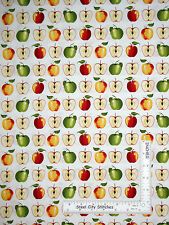 Kitchen Apple Fruit Red Green Cotton Fabric Red Rooster Day On The Farm Yard