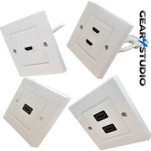 White HDMI Wall Face Plate with Sockets or flyleads NO SOLDERING EASY INSTALL
