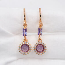 18K Yellow Gold Filled Purple Round Mystic Topaz Drop Dangle Earrings Jewelry