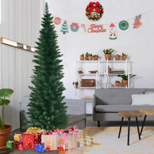 6Ft PVC Artificial Pencil Christmas Tree Slim w/ Stand Home Holiday Decor Green