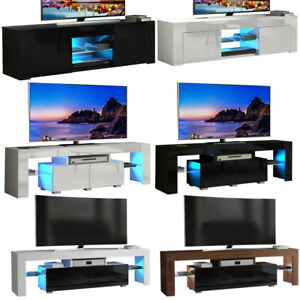 High Gloss TV Cabinet Stand Table Blue LED Unit w/ Storage Drawer & Glass Shelf