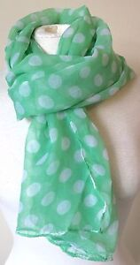 BNWT Light Green Polka Dot Spotty Print Sheer Scarf Shawl Sarong Headscarf