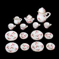15pcs Dolls House Miniature Ceramic Coffee Service Tea Set Red Cherry 1/12 Scale