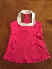 Lululemon Scoop Neck Tank Top Shirt Sz. 8 Pink & White