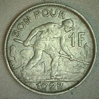 1928 Luxembourg Nickel 1 Franc World Coin featuring Steelworker Reverse XF
