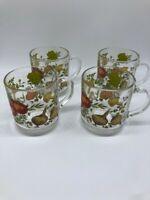 4 Vintage Glass Mushroom Mugs Arcoroc France Cooking Vegetable Garden Cups