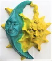 """10"""" Sun & Moon, Handmade Original Wall Sculpture by Claybraven"""
