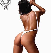Trend Monobikini Badeanzug in weiß extreme high waist Schnitt mit sexy String