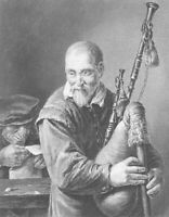 BAGPIPER Musician Piper Playing Bagpipes - 1870s Fine Quality Print