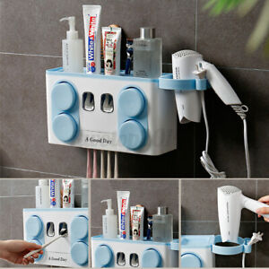 US 4 Cups Automatic Toothpaste Dispenser Toothbrush Holder Hair Dryer Wall Mount