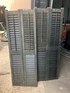 "PaiR c1890 louvered window house shutters double wide Green 58.25"" x 21"" x 1 1/8"