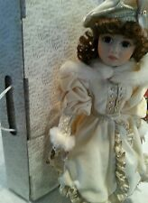 """17"""" Franklin Heirloom Doll Porcelain with original Box and stand"""