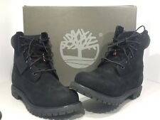 Timberland 08658 Womens US Sz 9.5 Premium Black Nubuck Leather Boots Shoes TS-80
