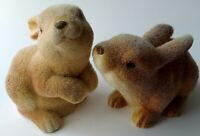 "Vintage Easter Bunny Fuzzy Flocked Brown Rabbit 5"" Figurine Spring Ceramic Decor"