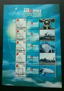 [SJ] Singapore Asian Aerospace 2006 Aviation Airplane Personal (sheetlet) MNH