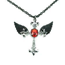 Poizen Industries Cross Feather P1 Necklace Ladies Black Silver Goth Punk Girls