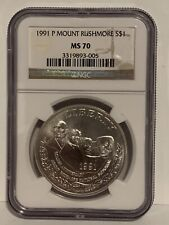 1991 P MOUNT RUSHMORE COMMEMORATIVE SILVER DOLLAR NGC MS70