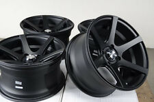 15 4x100 Matte Black Effect Rims Scion XA XB Low Offset Miata G3 4 Lug Wheels