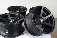 15 4x100 Matte Black Effect Rims Scion XA XB Low Offset Miata G3 4 Lug Wheels