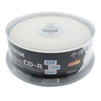 25pcs CD-R 700MB 80min Blank Disc 52X Inkjet Printable Black Bottom Recordable