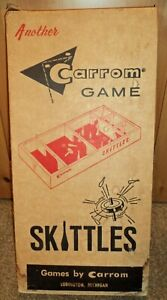 Skittles Carrom Model N25 8 pins 1 spinner directions Vintage Game Original Box