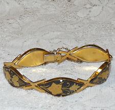 Vintage Gold Tone Enamel Black Damascene Toledo Link Bracelet  BB81