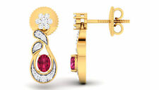 0.86 Cts Round Brilliant Cut Diamonds Ruby Stud Earrings In Fine 14K Yellow Gold