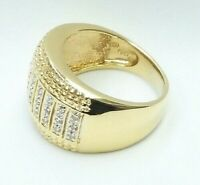 14k yellow gold diamond band wide ring 6.3 grams size 6.5