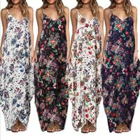 Womens Boho Floral Print Sleeveless Long Maxi Dress Party Evening Beach Sundress