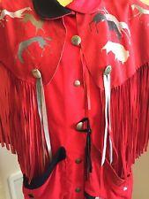 VTG Santa Fe Recreations Chimayo Jacket Southwestern Fringe Red Horses Original