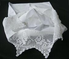 PillowCases (2) New White Cotton Sateen Hand Crochet Pillowhams Standard H5#
