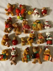 21 Fuzzy small craft Teddy Bears flocked Christmas Some w hangers ornaments