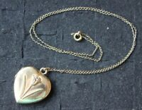 """12Kt Yellow Gold Heart Locket Pendant Necklace Frame flower w/ 18"""" 12KGF chain"""