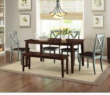 Farmhouse Dining Table Set 6 Piece Rustic Country Kitchen Bench Chairs Wood Blue