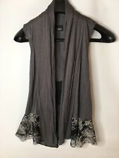 daytrip gray black lace cardigan women medium long sleeve