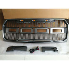 Gray Grill Raptor Style Grille Fit For Ford F150 2009-2014 w/3 Led Lights